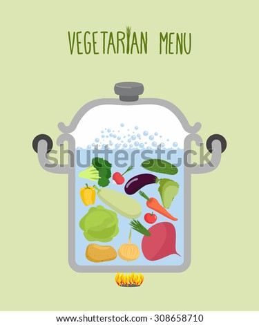 Vegetables in a saucepan. Logo for  vegetarian menu. Useful and healthy food. Boiled beets and squash. Cooking vegetables in saucepan. A set of useful vegetables: onions and pepper. Cooking soup  - stock photo
