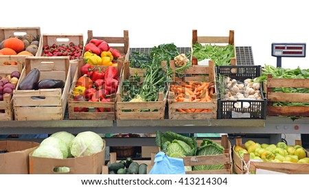 Vegetables in Crates at Farmers Market Stall - stock photo