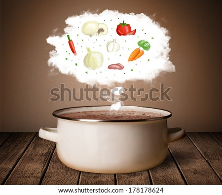 Vegetables in vapor steam above cooking pot - stock photo