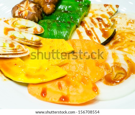 Vegetables in white dish