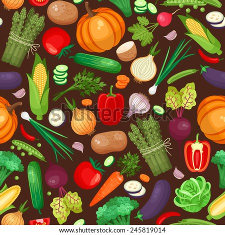 Vegetables ingredients seamless pattern. Pumpkin, beet, potatoes and peppers - stock photo
