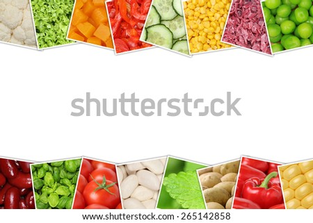 Vegetables like tomatoes, paprika, lettuce, potatoes, beans and cucumber with copyspace - stock photo