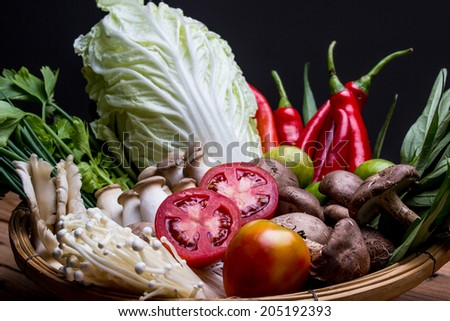 Vegetables of Ingredients of Thai spicy food