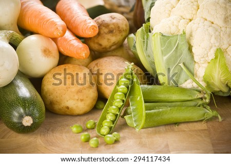 Vegetables on a cutting board - stock photo