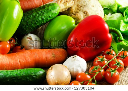 Vegetables on a jute texture
