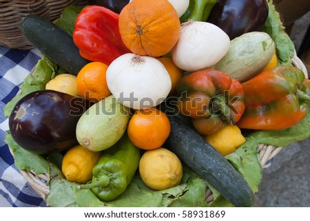 vegetables on a plate - stock photo