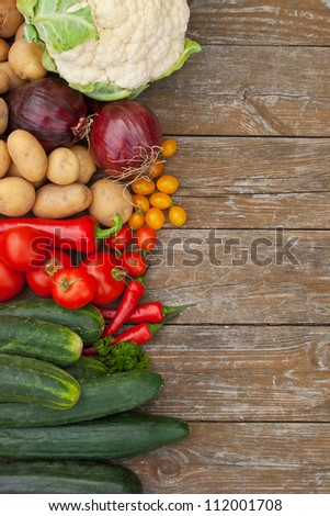 vegetables on a wooden table/vegetables/harvest - stock photo