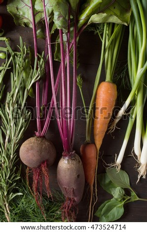 vegetables on background wooden table