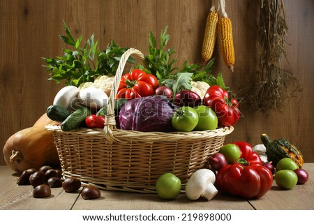 vegetables on rustic table