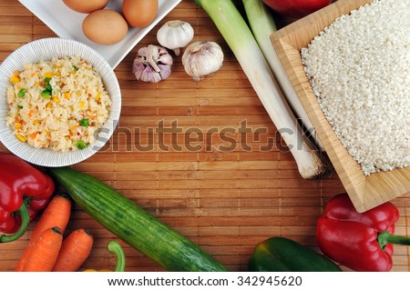 vegetables on table top view - stock photo