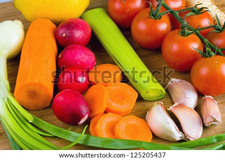 vegetables on the cutting board