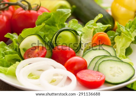 Vegetables on the salad plate - stock photo