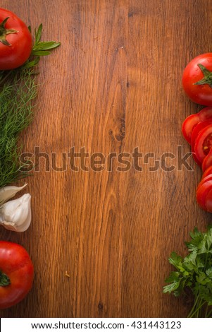 Vegetables on the table top background