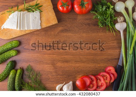 Vegetables on the table top with cheese