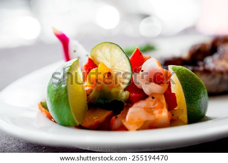 Vegetables on the white plate. Barbecue. Restaurant - stock photo