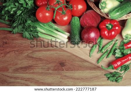 Vegetables on the wooden table