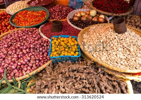 vegetables on traditional Marketplace in Tomohon City, north Sulawesi, Indonesia - stock photo