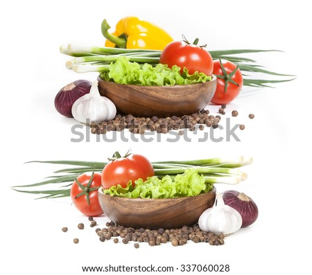 Vegetables on white background. fresh vegetables and spices on a white background. set of vegetables. vegetables in the store - stock photo