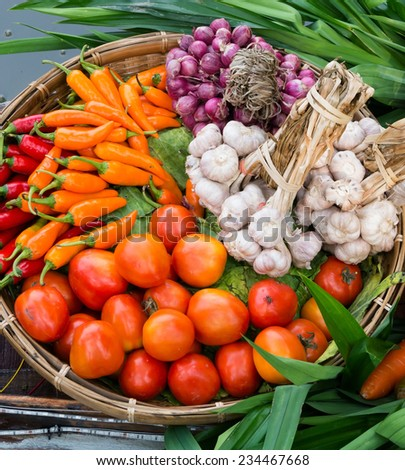 vegetables on wooden basket