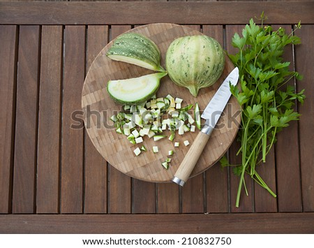 vegetables on wooden table - stock photo