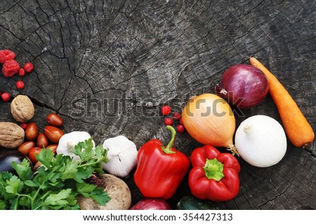 Vegetables on wooden table. Bio Healthy food, spices.