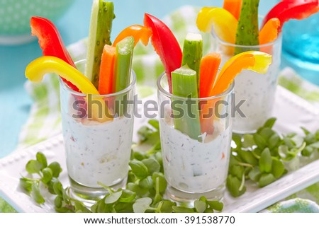 Vegetables Snacks in Yogurt - stock photo