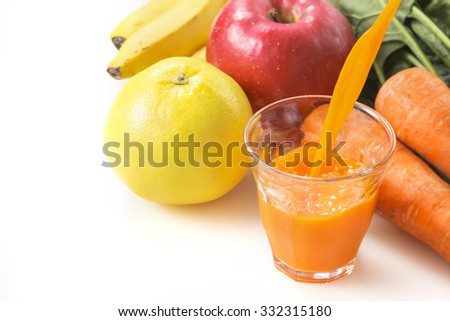 Vegetables snd fruit  Mixed juice - stock photo