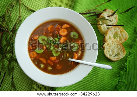 Vegetables soup with bread - stock photo