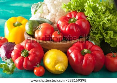 vegetables tomato pepper onion cauliflower lettuce - stock photo