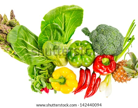 Vegetables varieties over white background - stock photo