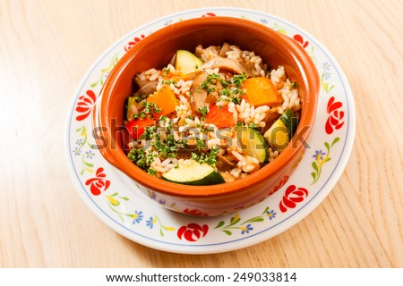 vegetables with rice - stock photo