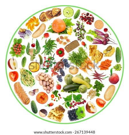 Vegetarian bio ecological food - fruit, vegetables and bread on my plate concept. Circle isolated handmade collage - stock photo