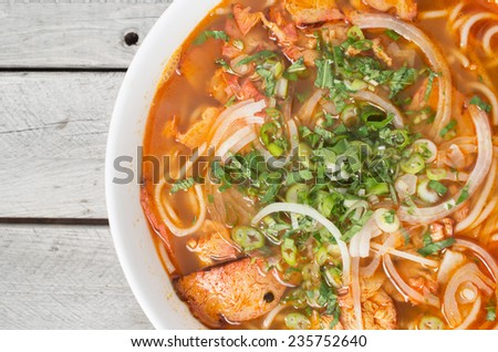 Vegetarian central Vietnamese hot and spicy soup, Bun Bo Hue chay