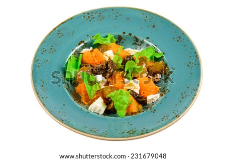 Vegetarian diet salad on a plate. Isolated on white background. - stock photo