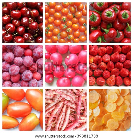 Vegetarian food collage: red fruits and vegetables including cherries, tomatoes, prunes, radish, beans, carrots - stock photo