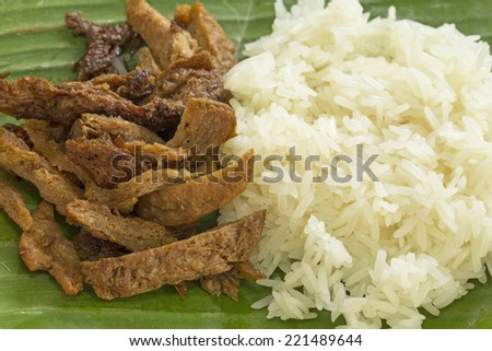 Vegetarian food - Meat from Soy Bean with Sticky rice - stock photo
