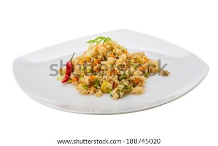 Vegetarian fried rice - asian food - stock photo