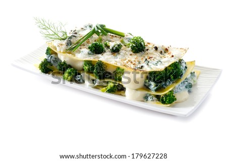 vegetarian lasagne with broccoli and spinach - stock photo