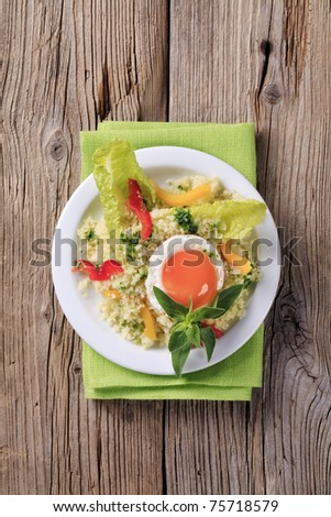 Vegetarian meal - Couscous salad and fried egg