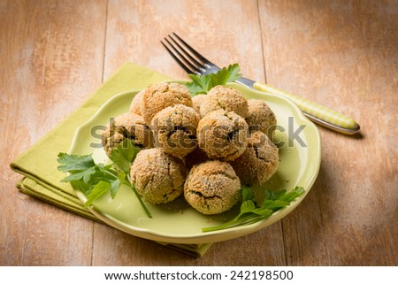vegetarian meatballs with ricotta and spinach - stock photo