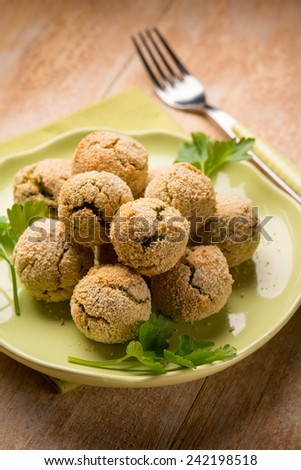 vegetarian meatballs with ricotta and spinach,  selective focus - stock photo