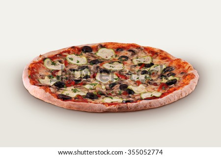 Vegetarian Pizza Isolated On The White Background. With Mozzarella Cheese, Green Peppers, Fresh Tomatoes, Zucchini, Olives and Fresh Mushrooms - stock photo