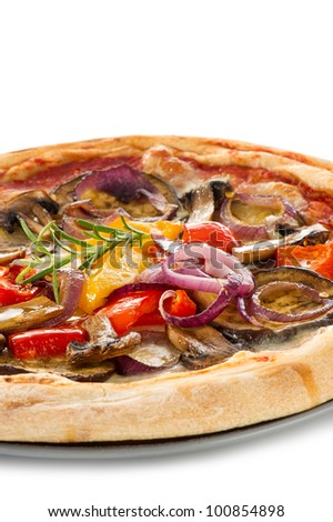 vegetarian pizza with vegetables on white background - stock photo