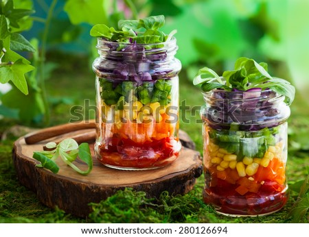 Vegetarian Rainbow salad in a glass jar for summer picnic - stock photo