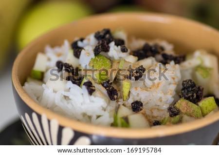 Vegetarian Rice with Pears Vitamin Breakfast - stock photo