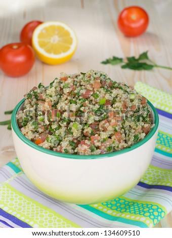Vegetarian salad - tabouli with quinoa - stock photo