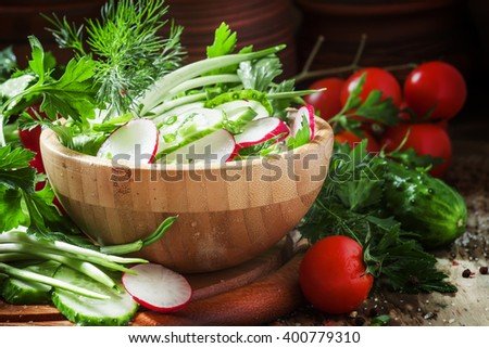 Vegetarian salad with radishes, cucumber, tomato, wild garlic, green onions and herbs, selective focus