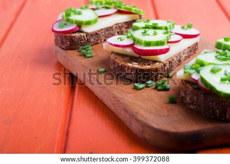 Vegetarian sandwich with vegetables.selective focus - stock photo