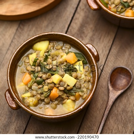 Vegetarian soup made of lentils, spinach, potato, carrot and onion served in dark brown bowl (Selective Focus, Focus one third into the soup) - stock photo