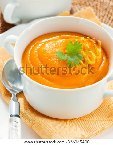 Vegetarian soup puree with carrot and potato